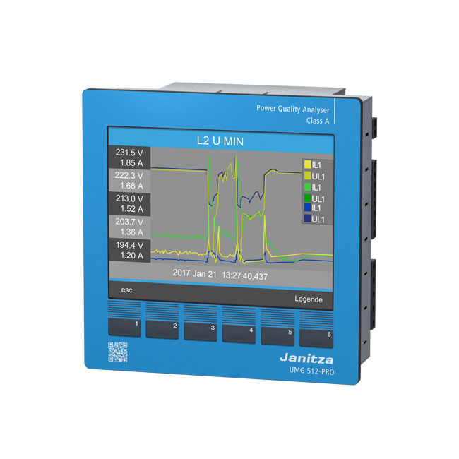 Class A power quality analyser with RCM UMG 512-PRO